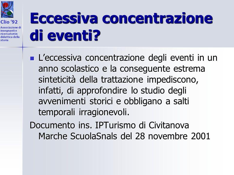 Eccessiva concentrazione di eventi