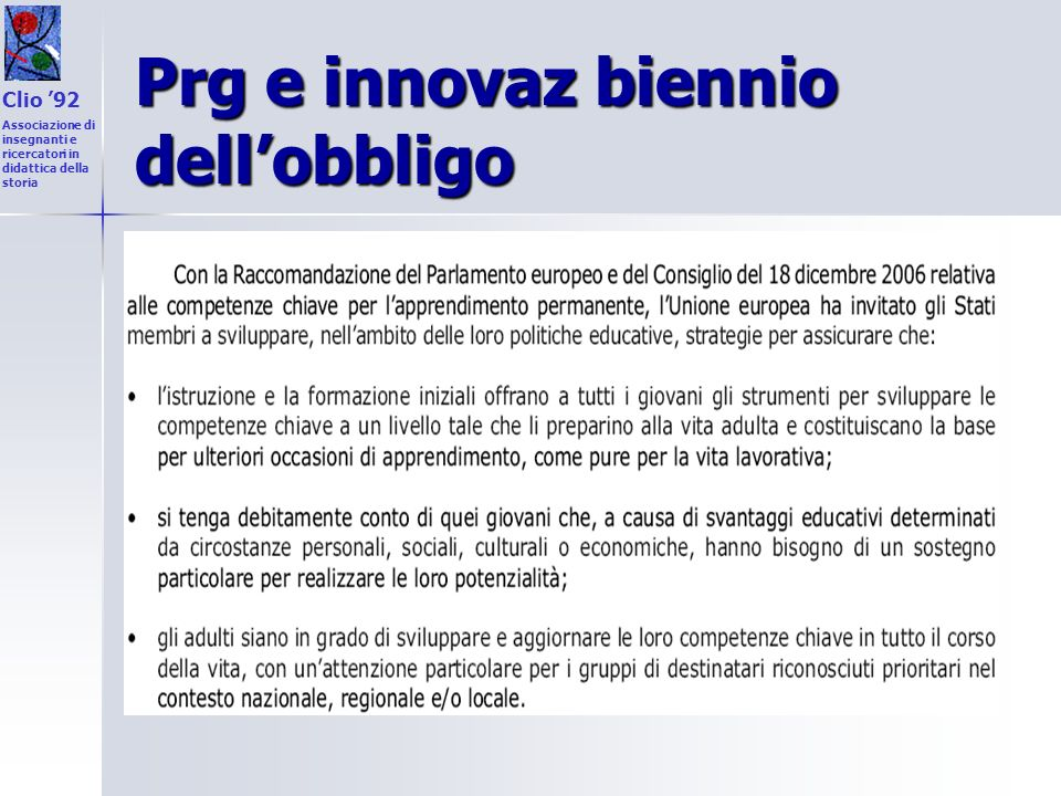 Prg e innovaz biennio dell'obbligo