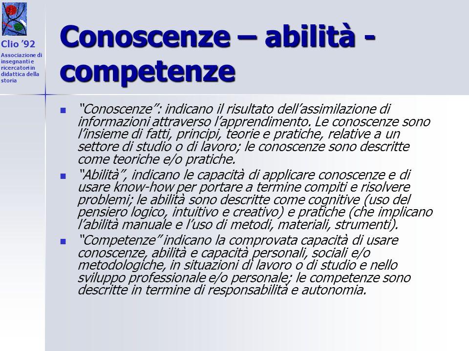 Conoscenze – abilità - competenze