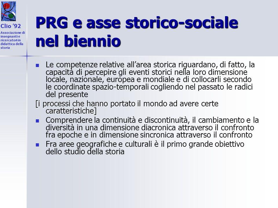 PRG e asse storico-sociale nel biennio