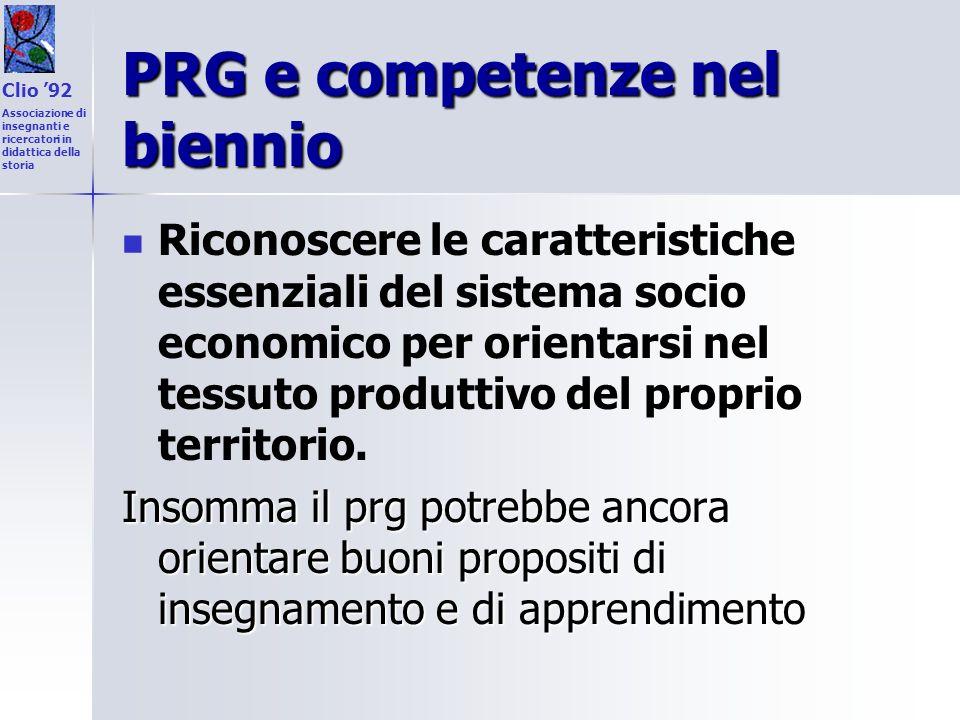 PRG e competenze nel biennio