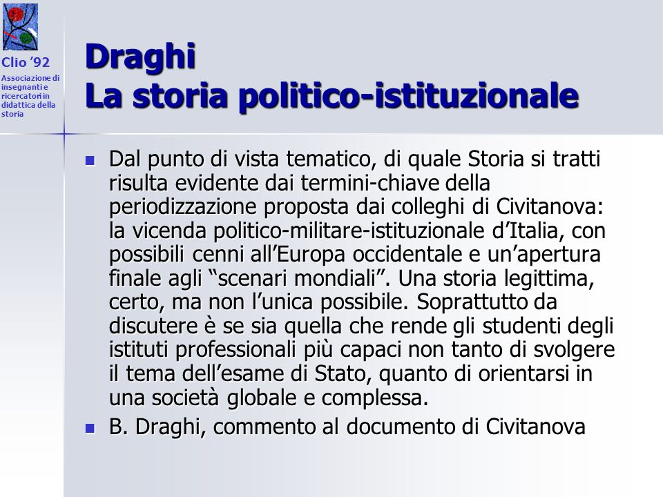 Draghi La storia politico-istituzionale