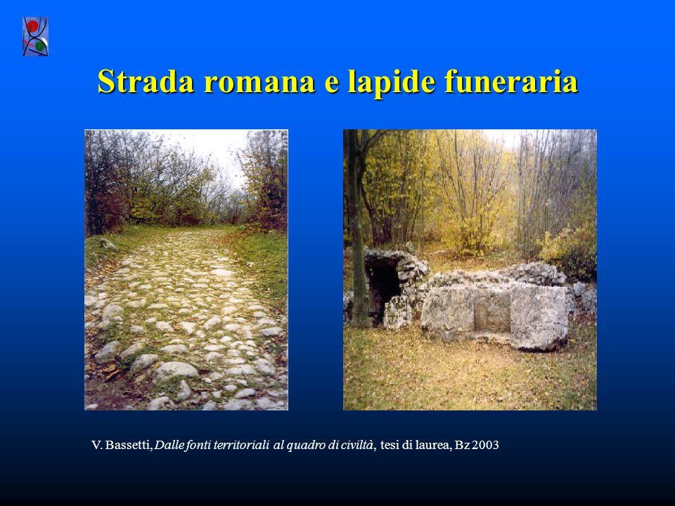 Strada romana e lapide funeraria