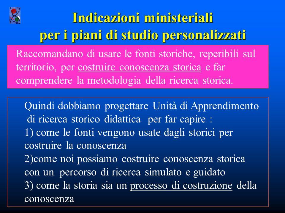 Indicazioni ministeriali per i piani di studio personalizzati