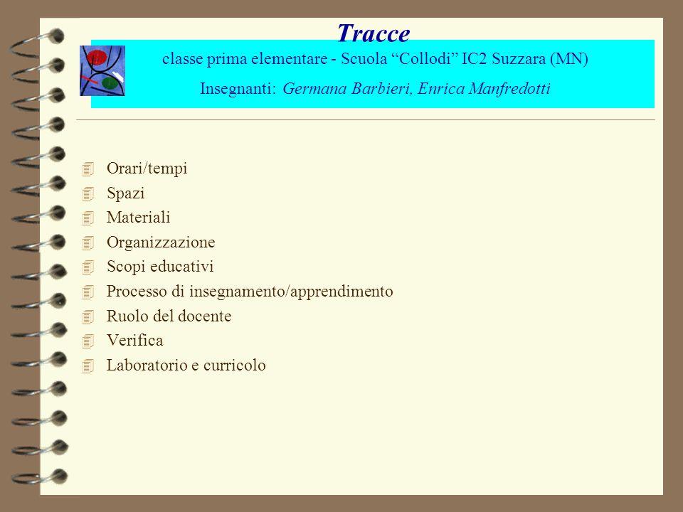 Tracce classe prima elementare - Scuola Collodi IC2 Suzzara (MN) Insegnanti: Germana Barbieri, Enrica Manfredotti