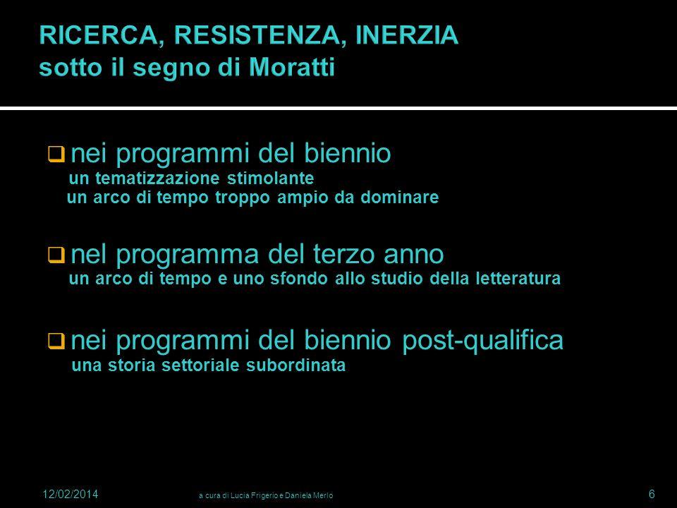 RICERCA, RESISTENZA, INERZIA sotto il segno di Moratti