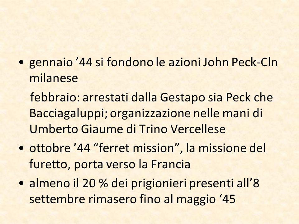 gennaio '44 si fondono le azioni John Peck-Cln milanese