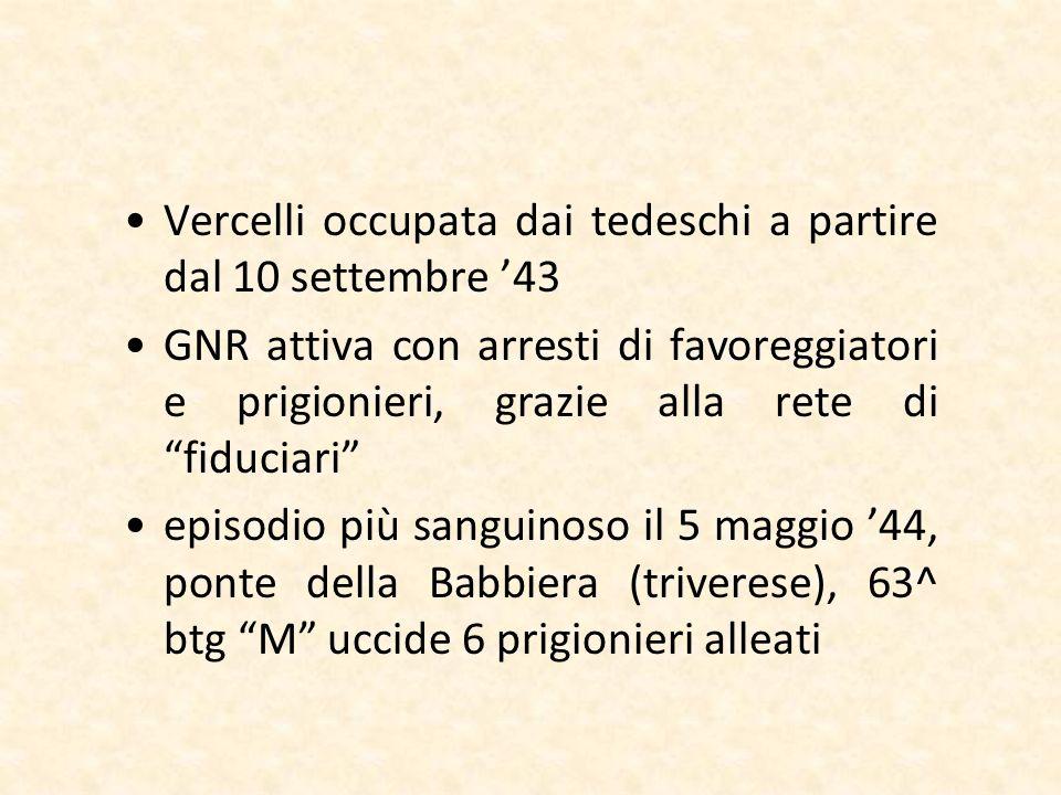 Vercelli occupata dai tedeschi a partire dal 10 settembre '43
