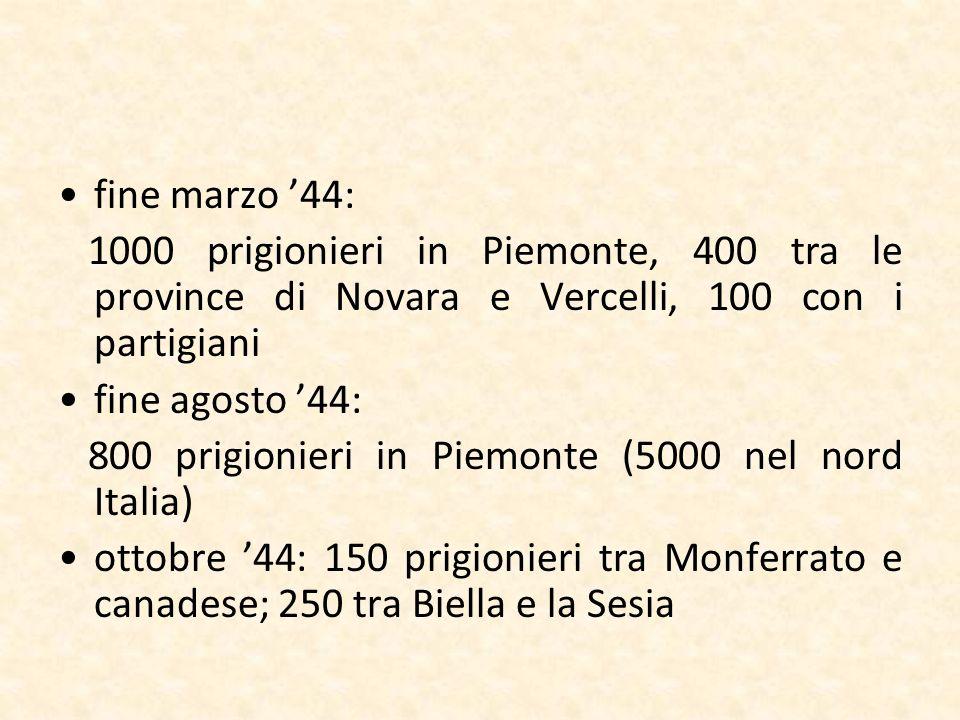 fine marzo '44: 1000 prigionieri in Piemonte, 400 tra le province di Novara e Vercelli, 100 con i partigiani.