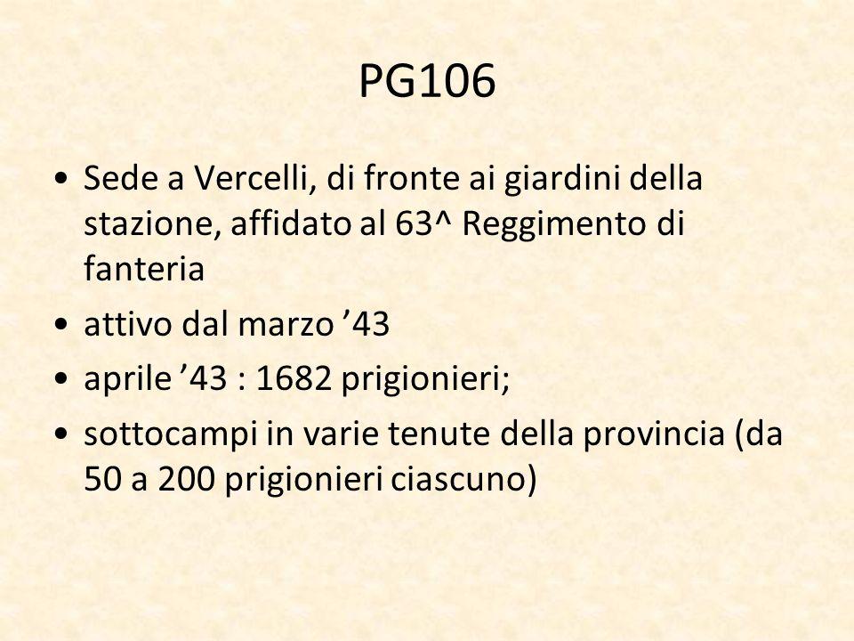 PG106 Sede a Vercelli, di fronte ai giardini della stazione, affidato al 63^ Reggimento di fanteria.
