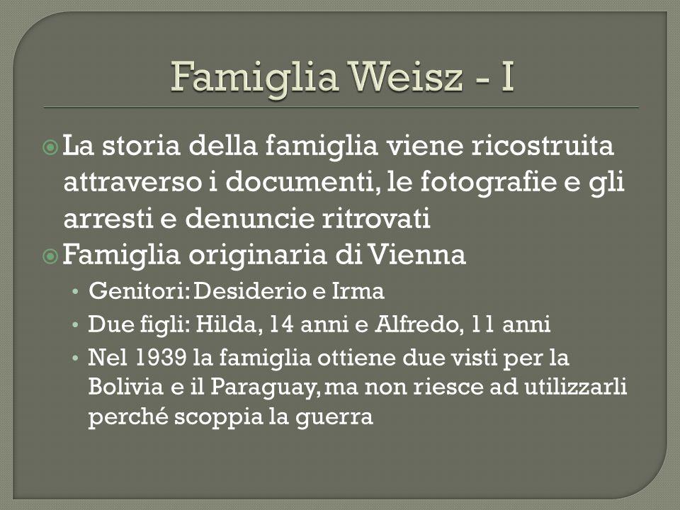Famiglia Weisz - I La storia della famiglia viene ricostruita attraverso i documenti, le fotografie e gli arresti e denuncie ritrovati.
