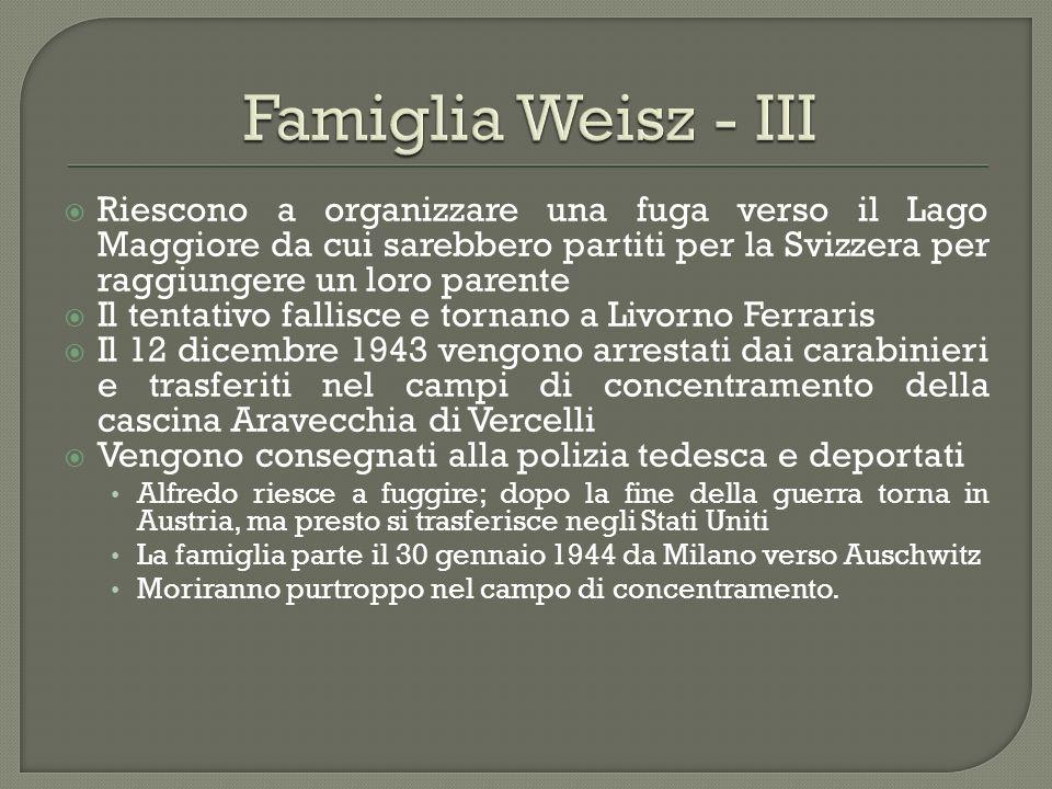 Famiglia Weisz - III Riescono a organizzare una fuga verso il Lago Maggiore da cui sarebbero partiti per la Svizzera per raggiungere un loro parente.