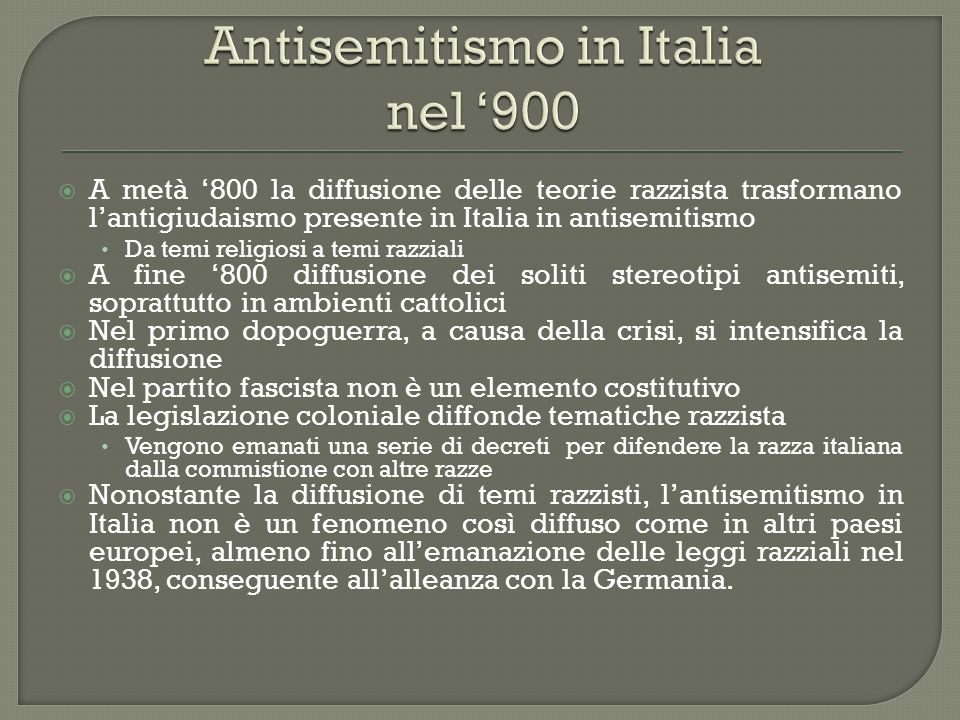 Antisemitismo in Italia nel '900