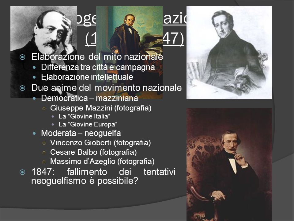 Progettare la nazione (1820 - 1847)