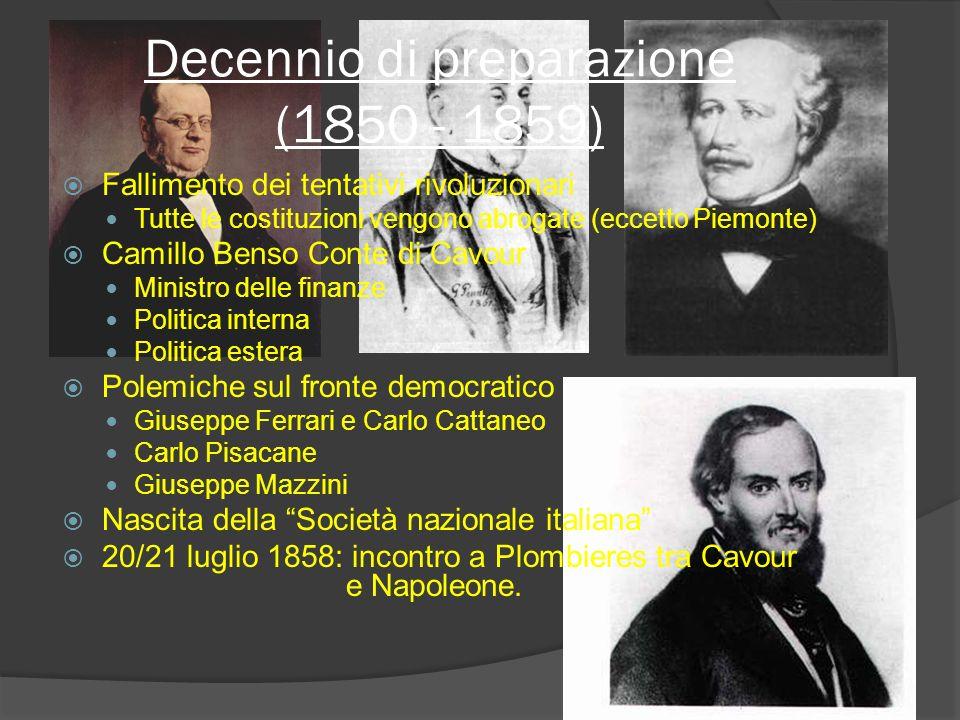 Decennio di preparazione (1850 - 1859)