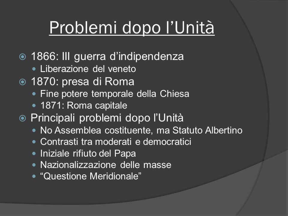 Problemi dopo l'Unità 1866: III guerra d'indipendenza