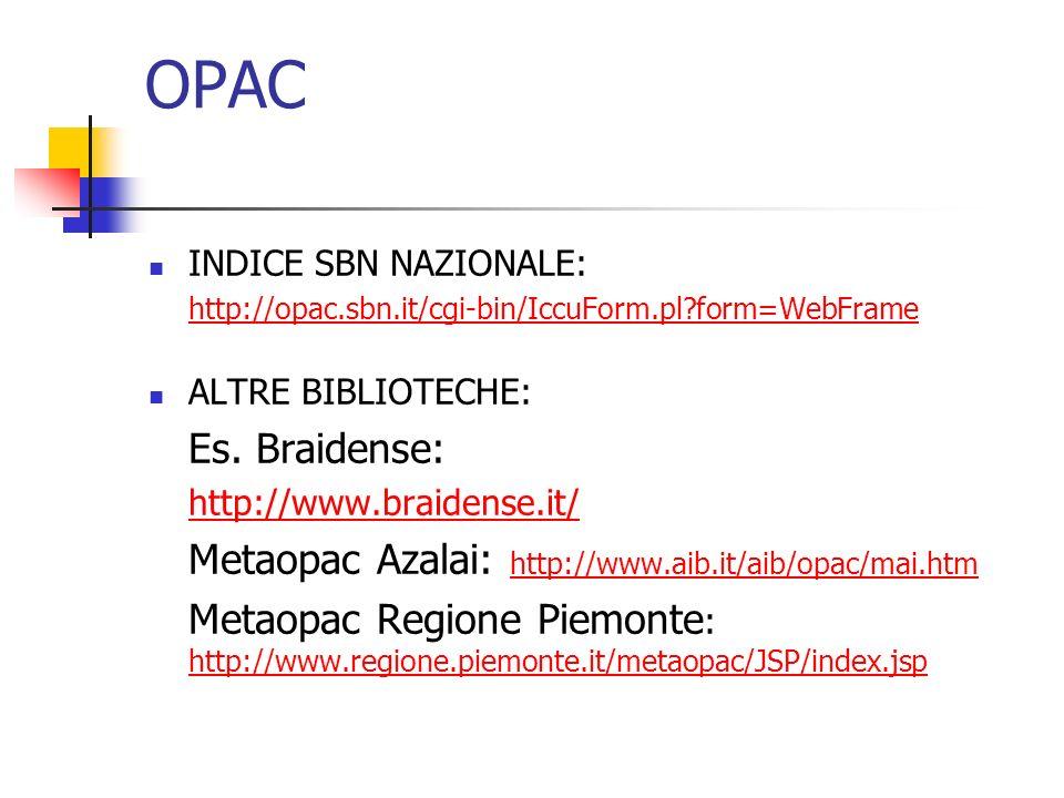 OPAC INDICE SBN NAZIONALE: http://opac.sbn.it/cgi-bin/IccuForm.pl form=WebFrame. ALTRE BIBLIOTECHE:
