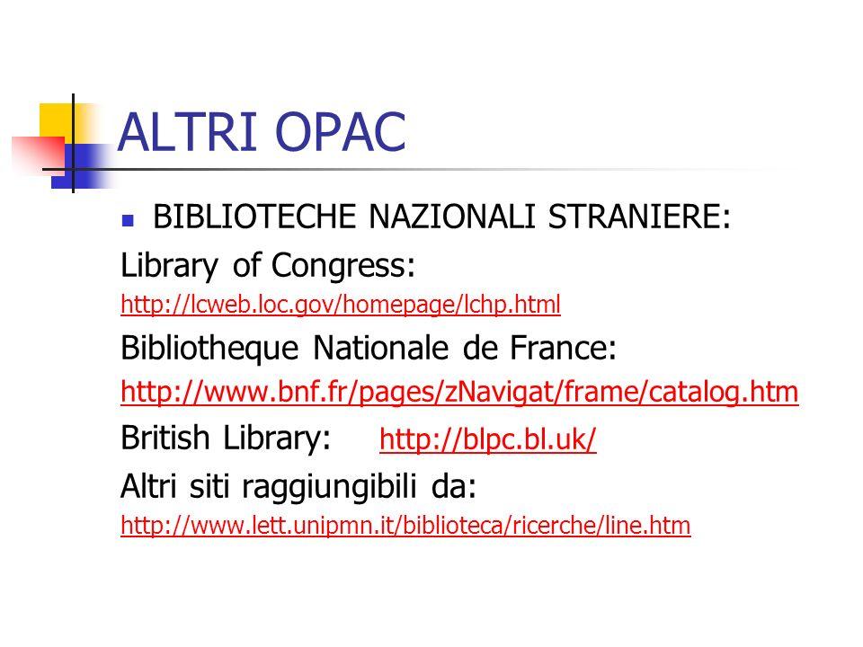 ALTRI OPAC BIBLIOTECHE NAZIONALI STRANIERE: Library of Congress: