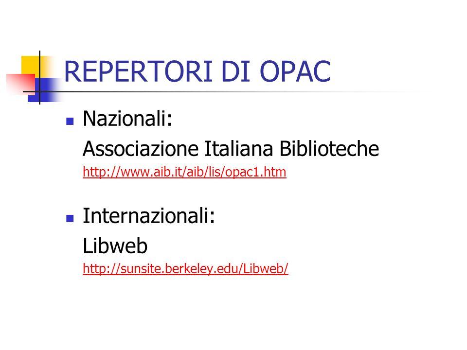 REPERTORI DI OPAC Nazionali: Associazione Italiana Biblioteche