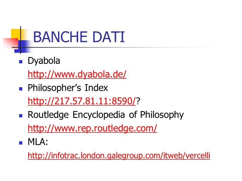 BANCHE DATI Dyabola http://www.dyabola.de/ Philosopher's Index