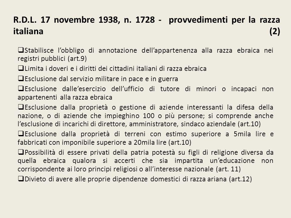 R.D.L. 17 novembre 1938, n. 1728 - provvedimenti per la razza italiana (2)