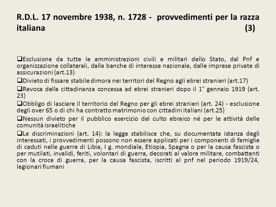R.D.L. 17 novembre 1938, n. 1728 - provvedimenti per la razza italiana (3)