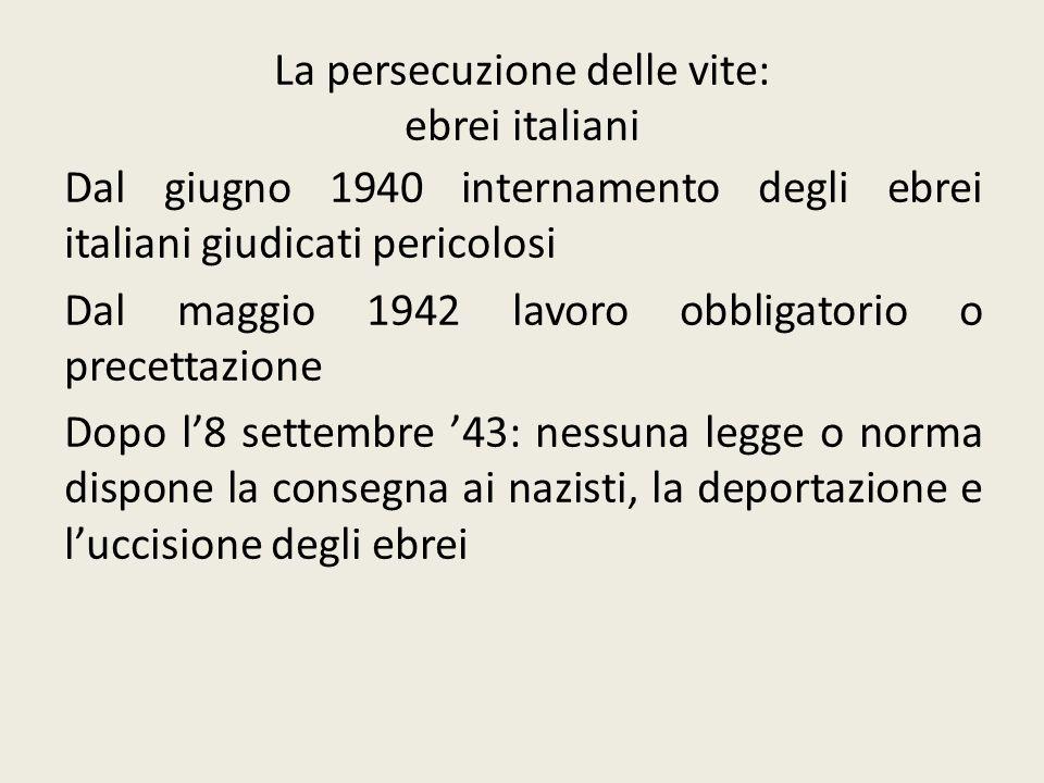 La persecuzione delle vite: ebrei italiani