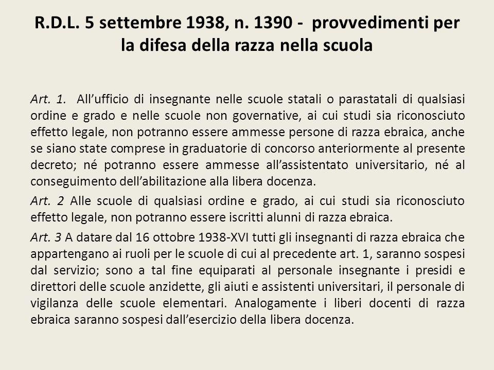 R.D.L. 5 settembre 1938, n. 1390 - provvedimenti per la difesa della razza nella scuola