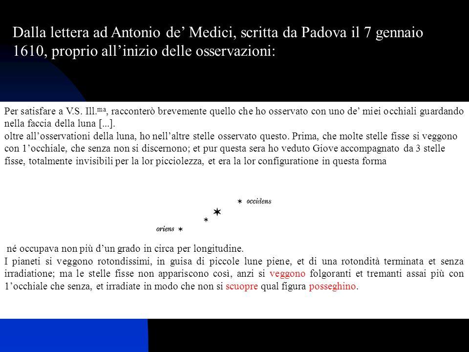 Dalla lettera ad Antonio de' Medici, scritta da Padova il 7 gennaio 1610, proprio all'inizio delle osservazioni: