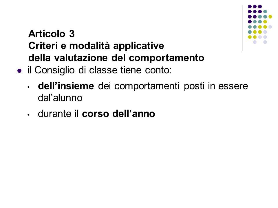 Articolo 3 Criteri e modalità applicative della valutazione del comportamento