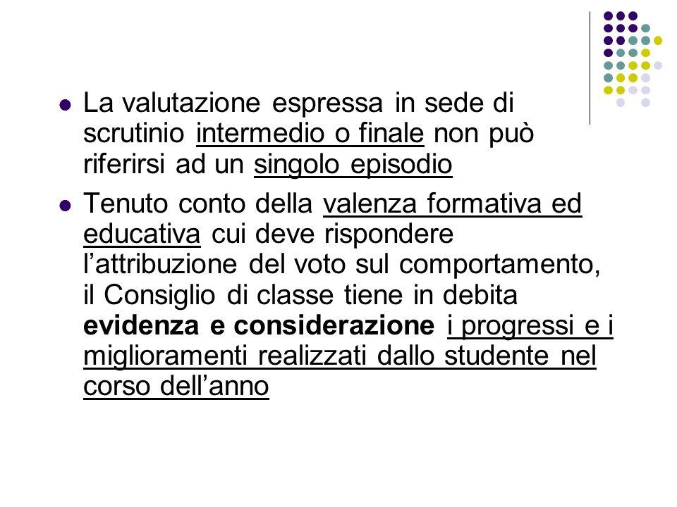 La valutazione espressa in sede di scrutinio intermedio o finale non può riferirsi ad un singolo episodio