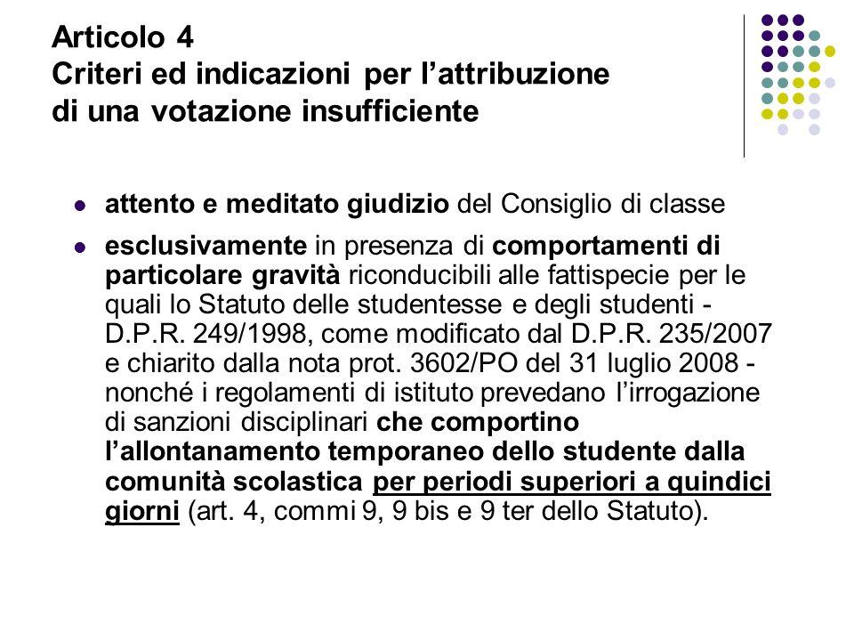 Articolo 4 Criteri ed indicazioni per l'attribuzione di una votazione insufficiente