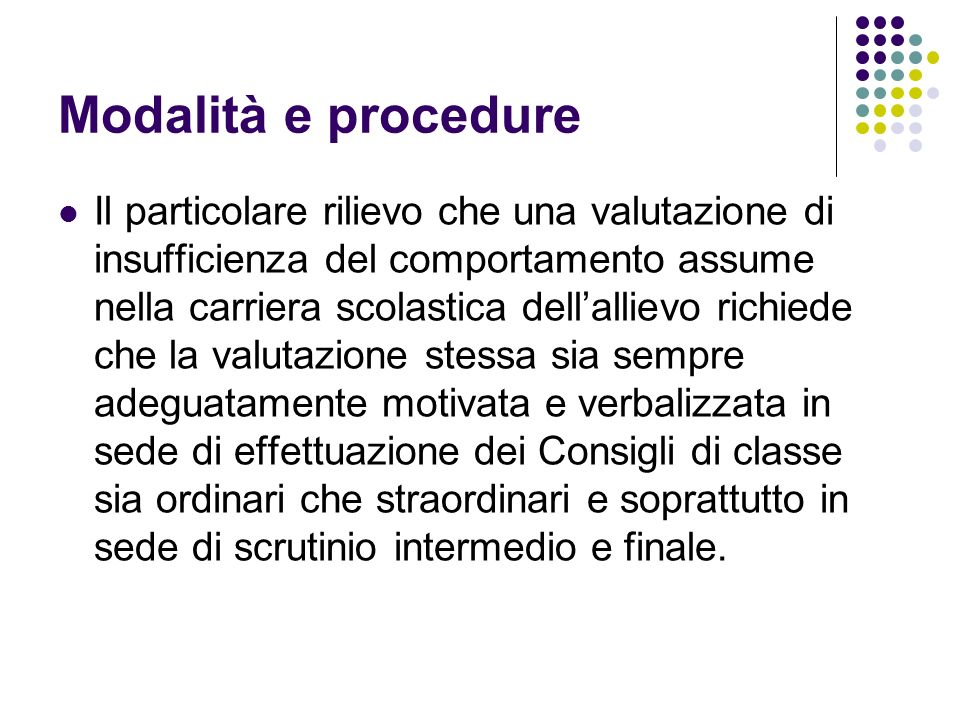 Modalità e procedure