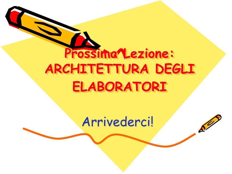 Prossima Lezione: ARCHITETTURA DEGLI ELABORATORI