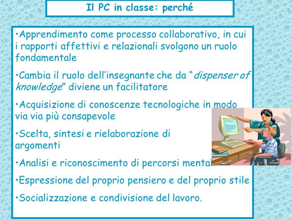 Il PC in classe: perché Apprendimento come processo collaborativo, in cui i rapporti affettivi e relazionali svolgono un ruolo fondamentale.