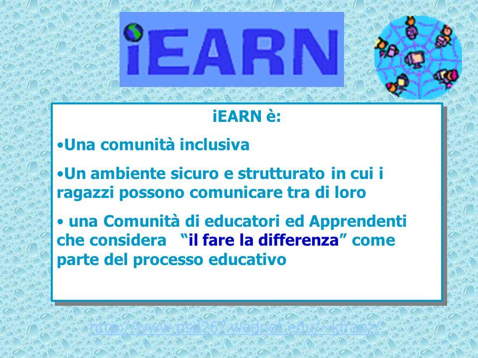 iEARN è: Una comunità inclusiva. Un ambiente sicuro e strutturato in cui i ragazzi possono comunicare tra di loro.