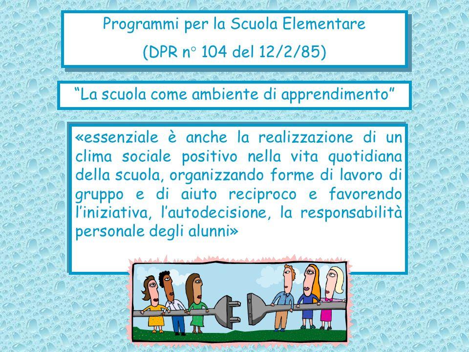 Programmi per la Scuola Elementare (DPR n° 104 del 12/2/85)
