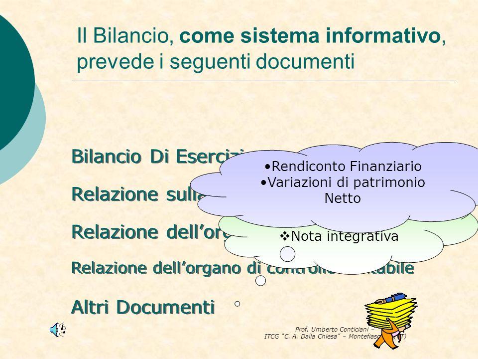 Il Bilancio, come sistema informativo, prevede i seguenti documenti