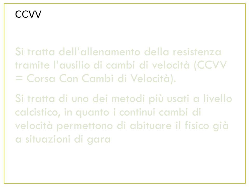 CCVV Si tratta dell'allenamento della resistenza tramite l'ausilio di cambi di velocità (CCVV = Corsa Con Cambi di Velocità).