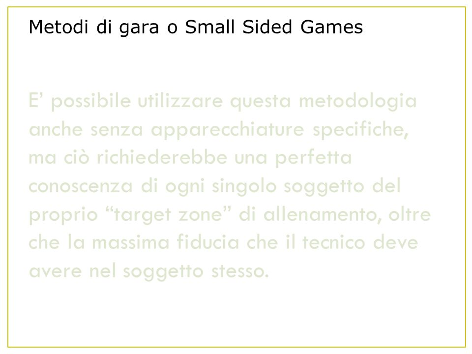 Metodi di gara o Small Sided Games