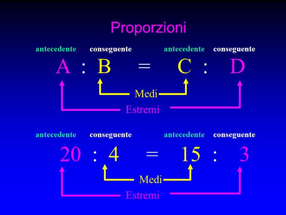 A : B = C : D 20 : 4 = 15 : 3 Proporzioni Medi Estremi Medi Estremi