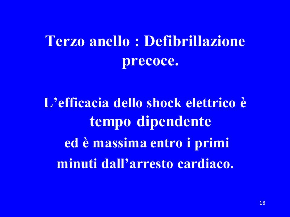 Terzo anello : Defibrillazione precoce.