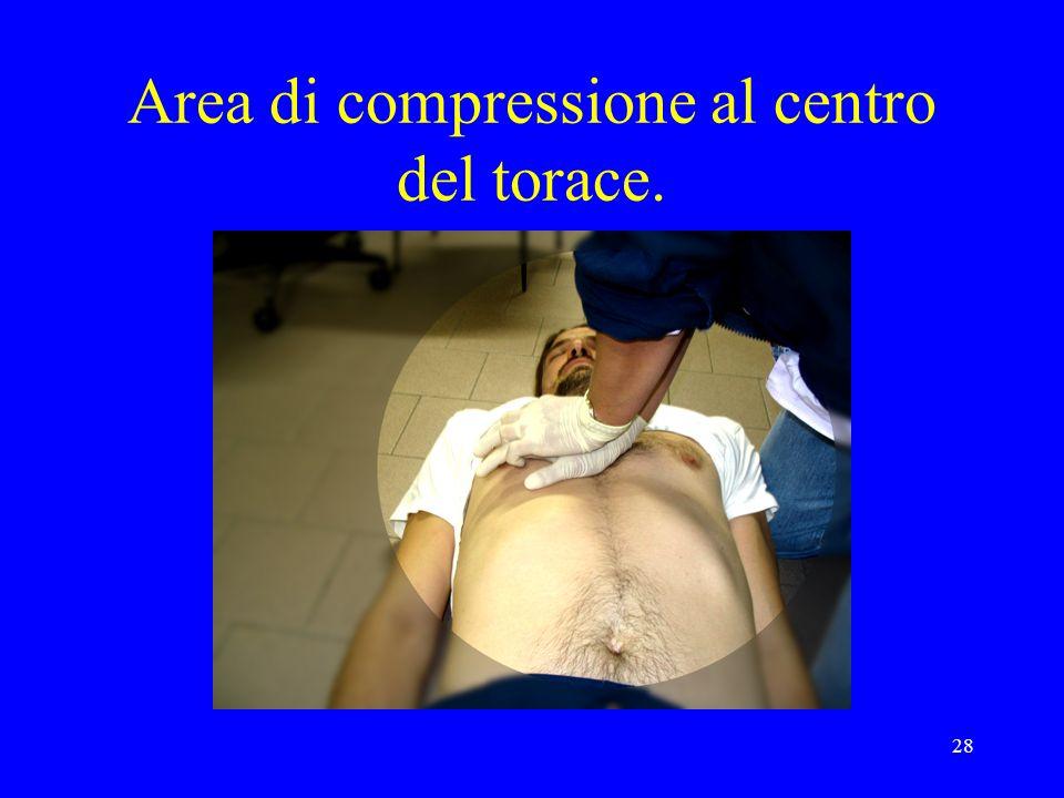 Area di compressione al centro del torace.