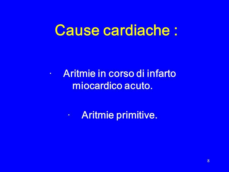 · Aritmie in corso di infarto miocardico acuto. · Aritmie primitive.