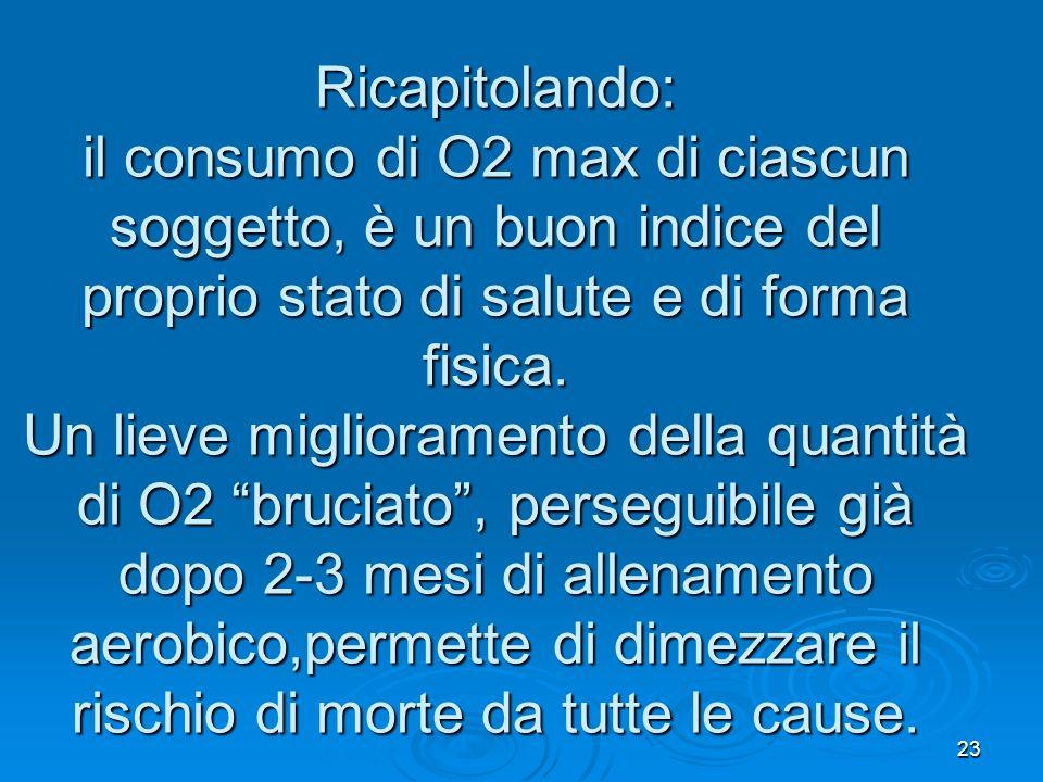 Ricapitolando: il consumo di O2 max di ciascun soggetto, è un buon indice del proprio stato di salute e di forma fisica.