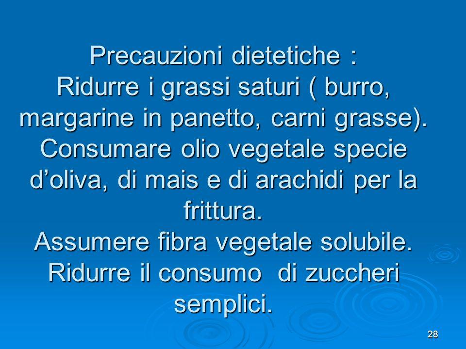 Precauzioni dietetiche : Ridurre i grassi saturi ( burro, margarine in panetto, carni grasse).