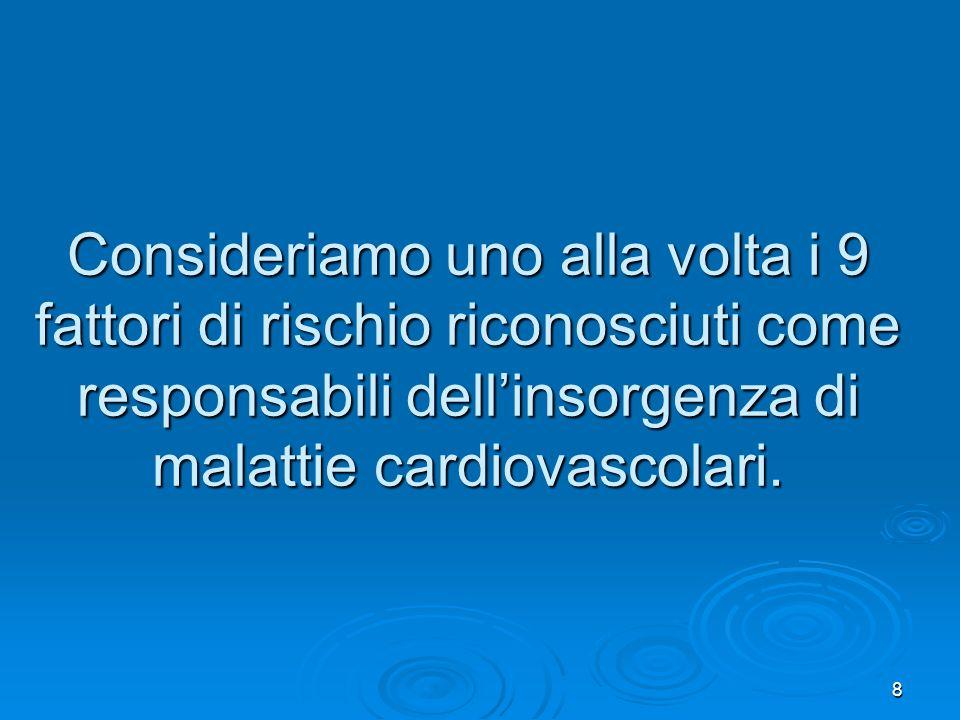 Consideriamo uno alla volta i 9 fattori di rischio riconosciuti come responsabili dell'insorgenza di malattie cardiovascolari.