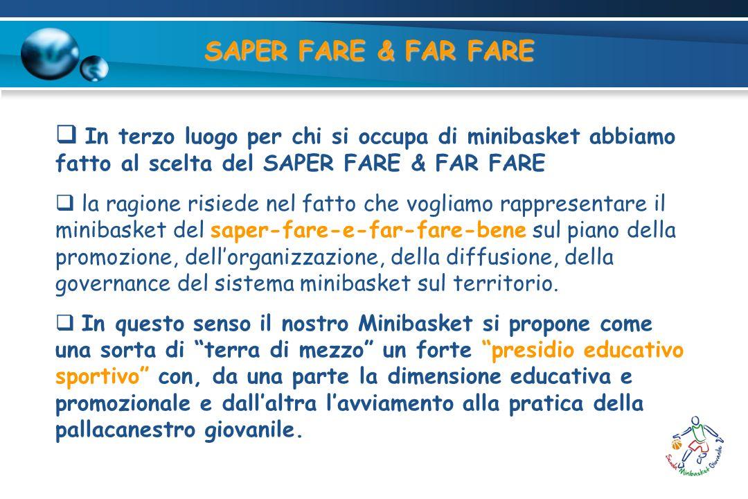 SAPER FARE & FAR FARE In terzo luogo per chi si occupa di minibasket abbiamo fatto al scelta del SAPER FARE & FAR FARE.