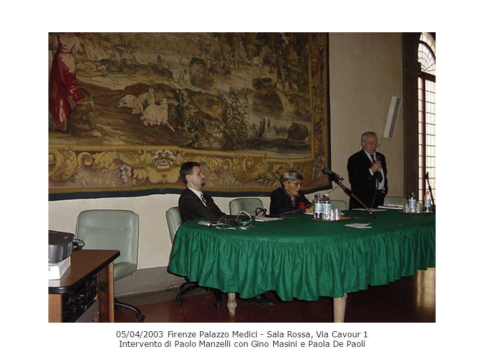 05/04/2003 Firenze Palazzo Medici - Sala Rossa, Via Cavour 1 Intervento di Paolo Manzelli con Gino Masini e Paola De Paoli