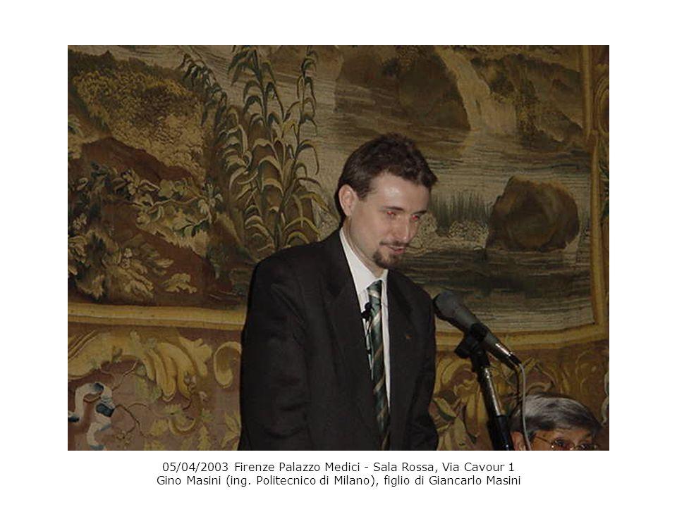 05/04/2003 Firenze Palazzo Medici - Sala Rossa, Via Cavour 1 Gino Masini (ing.